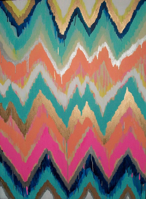 Custom ikat chevron 36x48 Painting by Jennifer Moreman 1097x1500