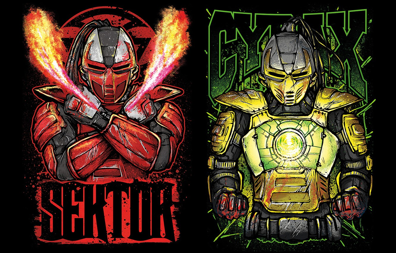 Wallpaper fiction robots art cyborgs fighters Mortal Kombat 1332x850