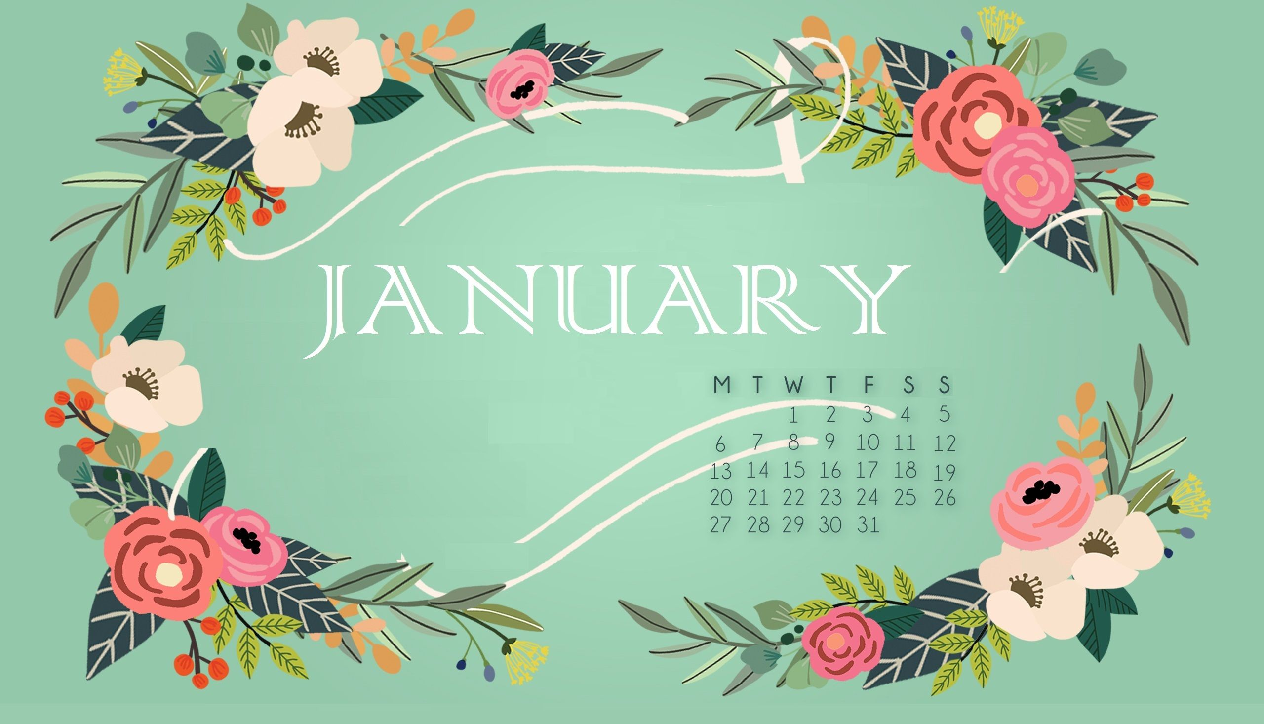 January 2020 Calendar Wallpapers   Top January 2020 Calendar 2560x1466