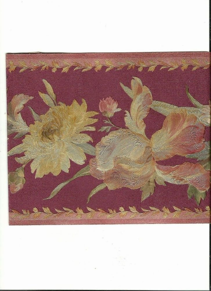 Burgundy and Mauve Floral with Gold Touches Wallpaper Border 51306200 727x1000