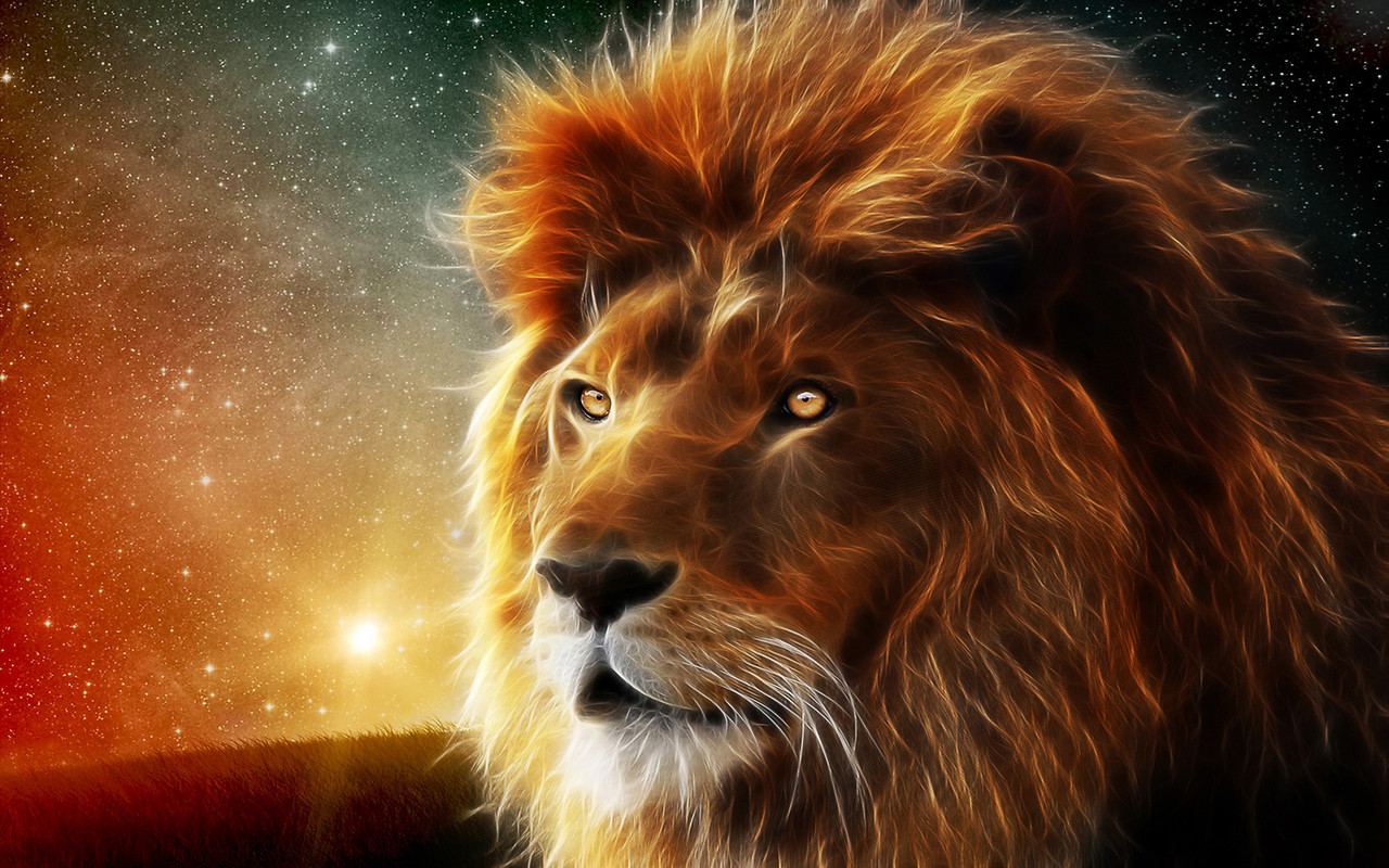 Wallpaper Hd Lion Neon