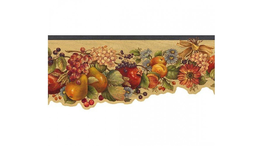 Home Green Fruit and Flowers Wallpaper Border 900x500