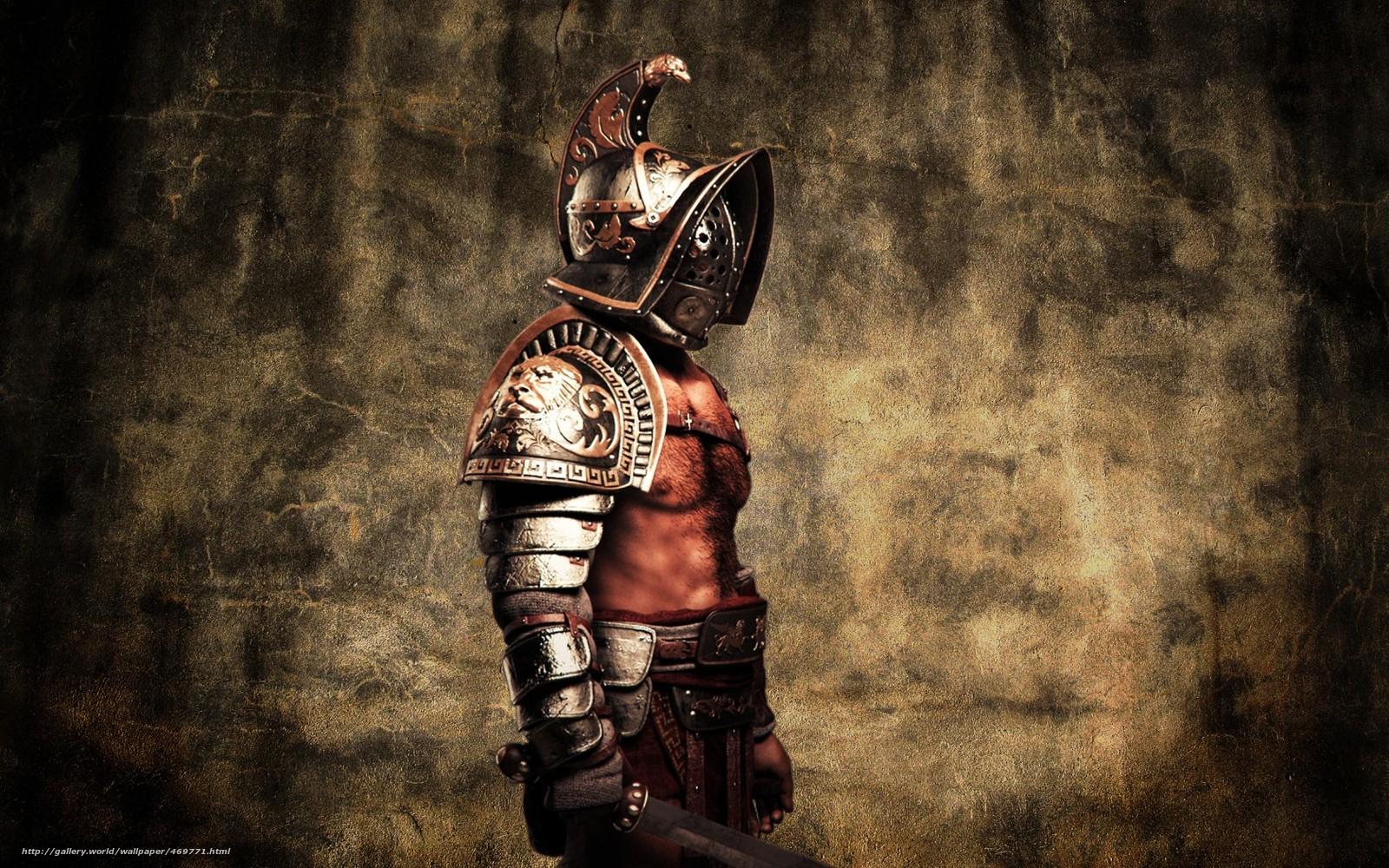 Download wallpaper gladiator Warrior gladius helmet 1600x1000
