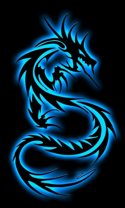 details of cell phone wallpaper dragon azul neon back title dragon 480x800