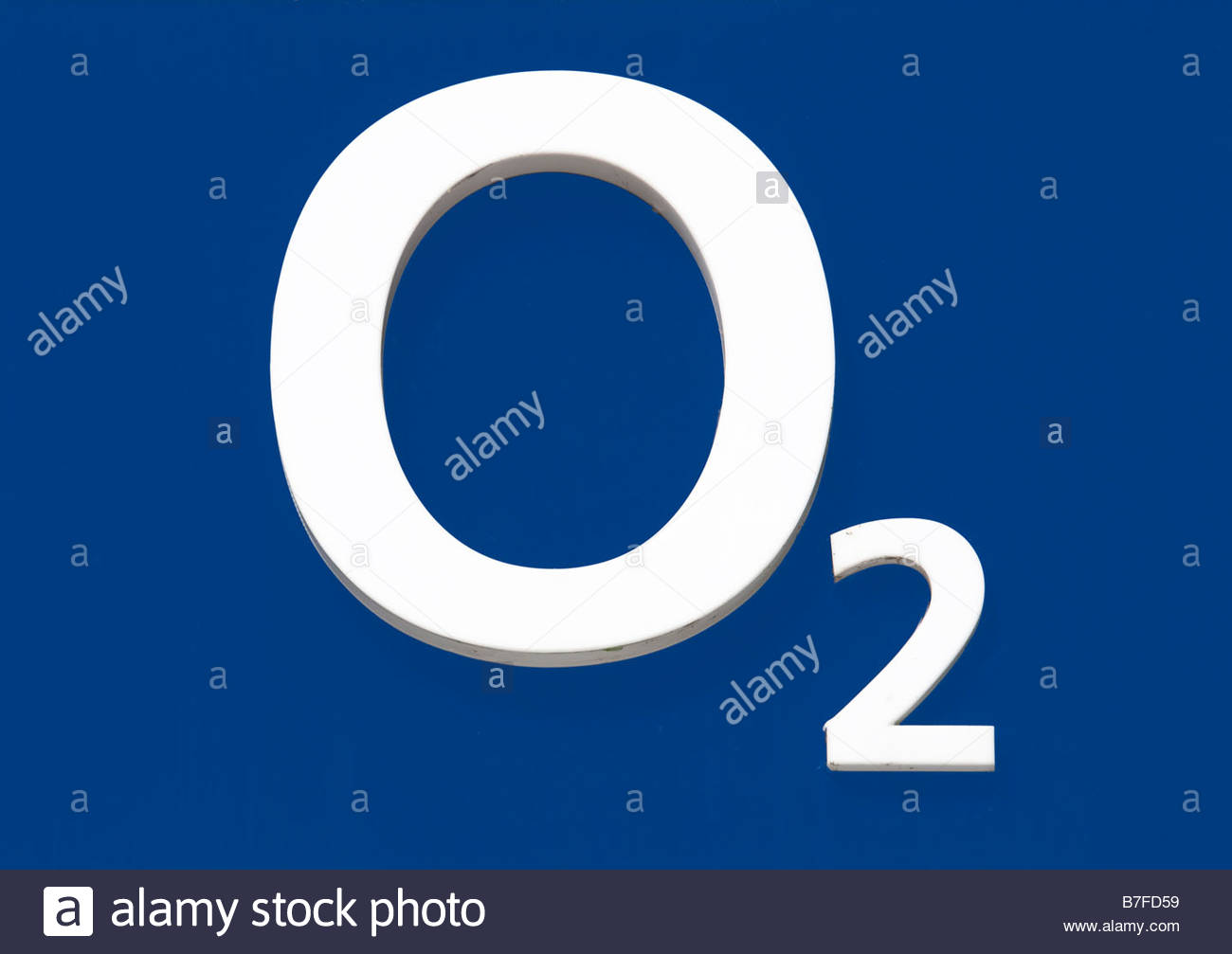 O2 sign on blue shop front background Germany Stock Photo 1300x1007
