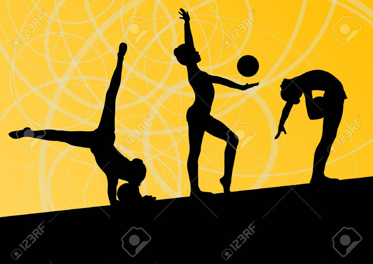 Active Young Girls Calisthenics Sport Gymnasts Silhouettes With 1300x918