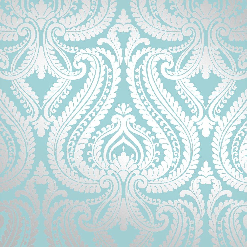 Love Wallpaper Shimmer Damask Metallic Feature Wallpaper Teal Silver 1000x1000