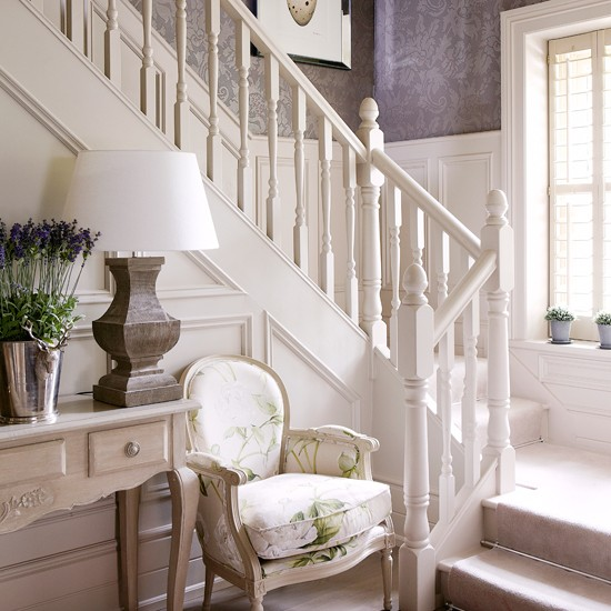Pale woodwork balances a damask wallpaper The traditional timber 550x550