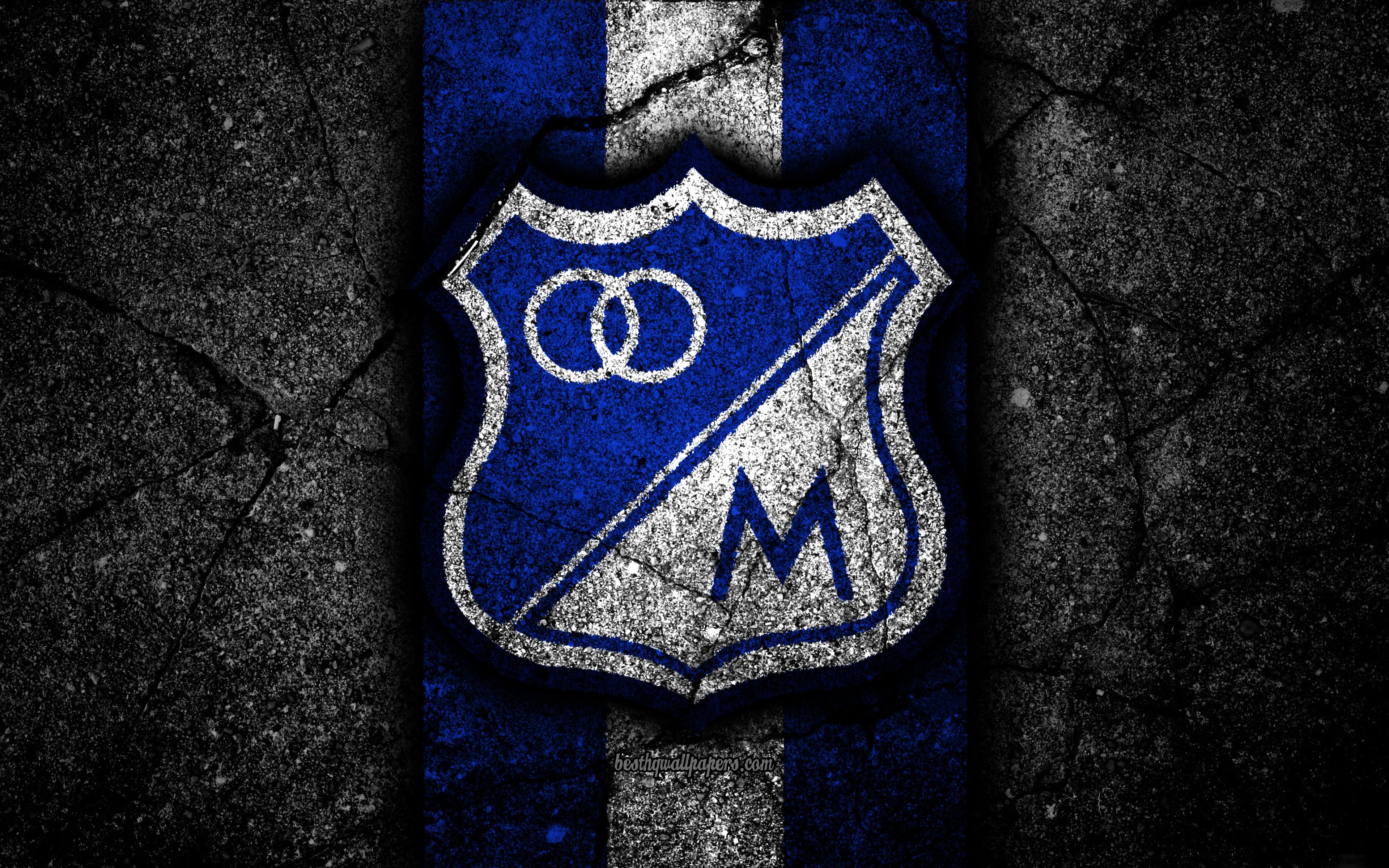 Descargar fondos de pantalla Millonarios FC 4k el logotipo el 3840x2400