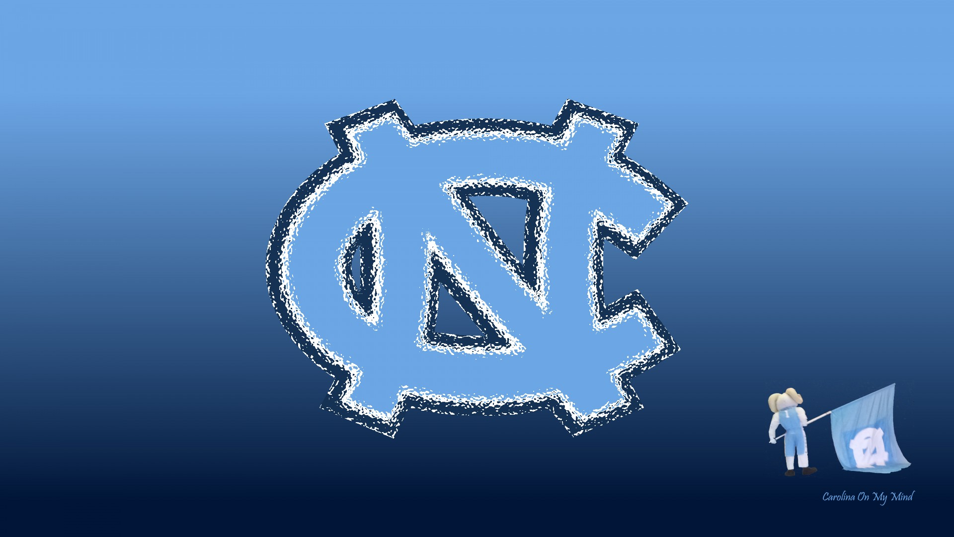 UNC Wallpaper   Glass NC with Rameses and Flag on Blue Gradient 1920 x 1920x1080