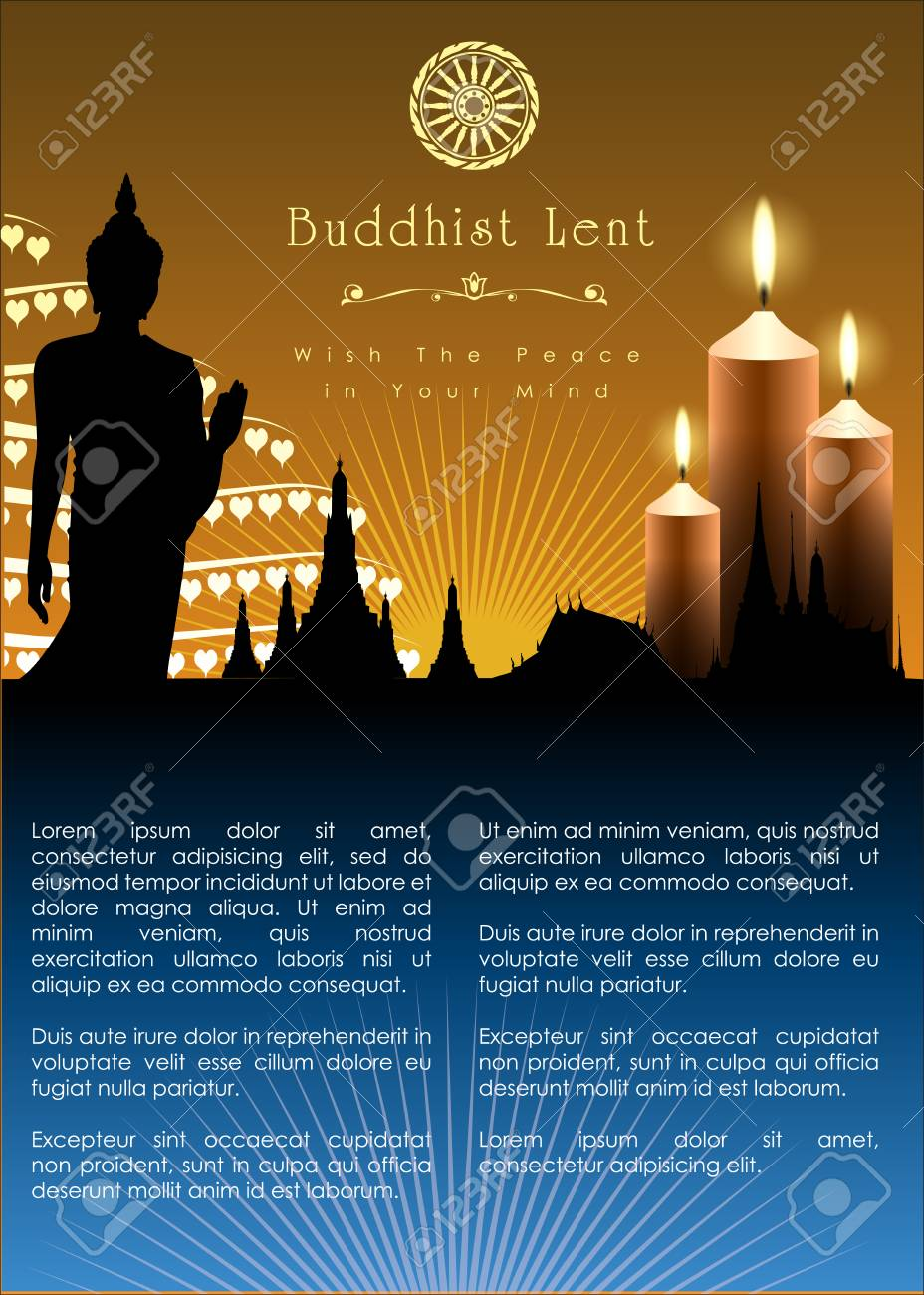 Buddhist Lent Artwork Template Vector And Illustration Royalty 928x1300