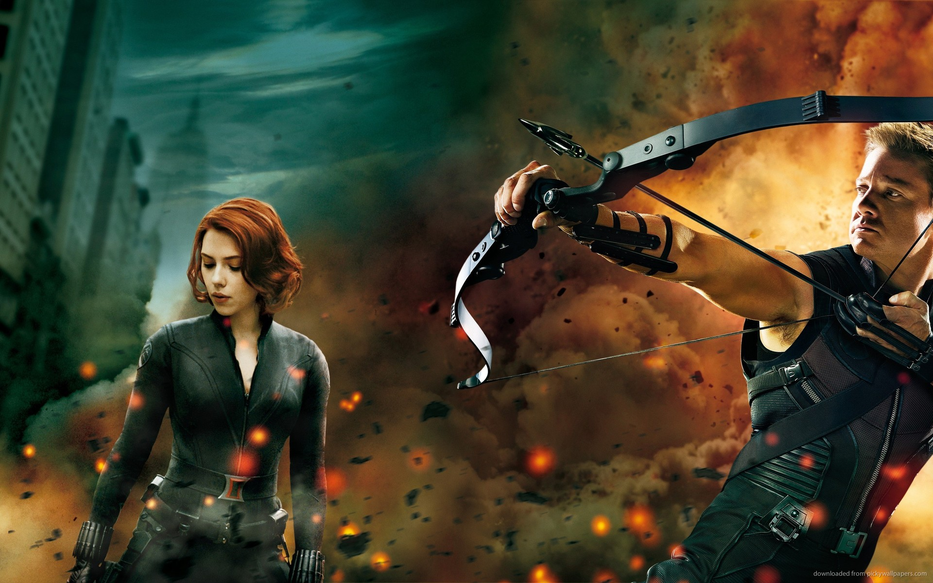 Download 1920x1200 Black Widow And Hawkeye Wallpaper 1920x1200