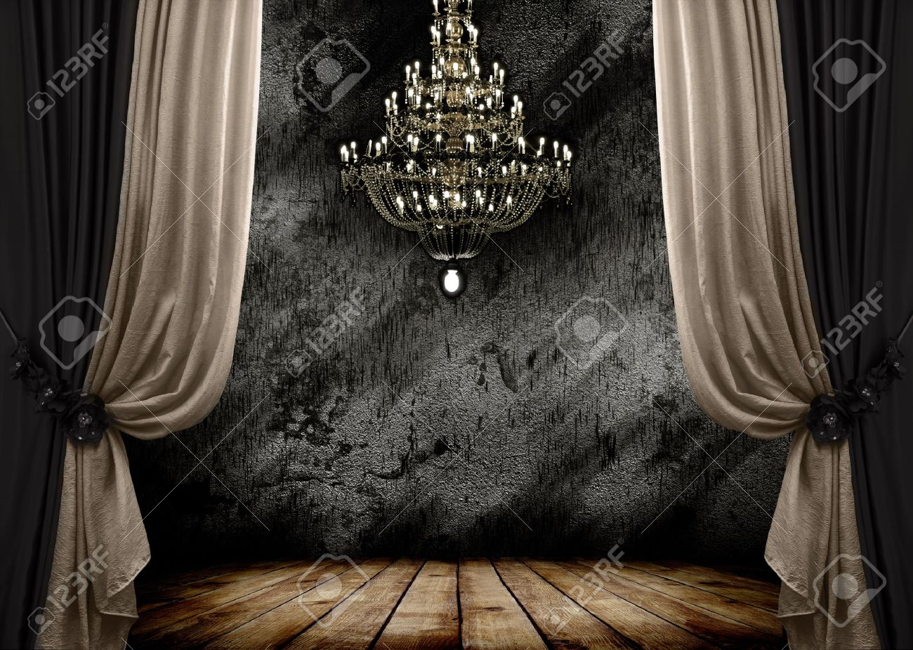 Image Of Grunge Dark Room Interior With Wood Floor And Chandelier 1300x926