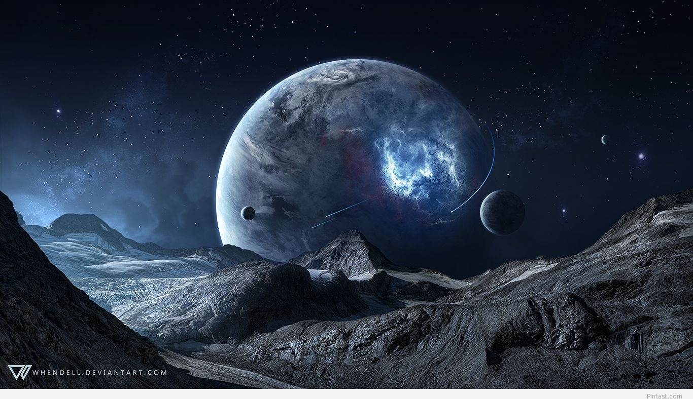 Blue Space Science Fiction Wallpaper in HD Pintast 1366x788