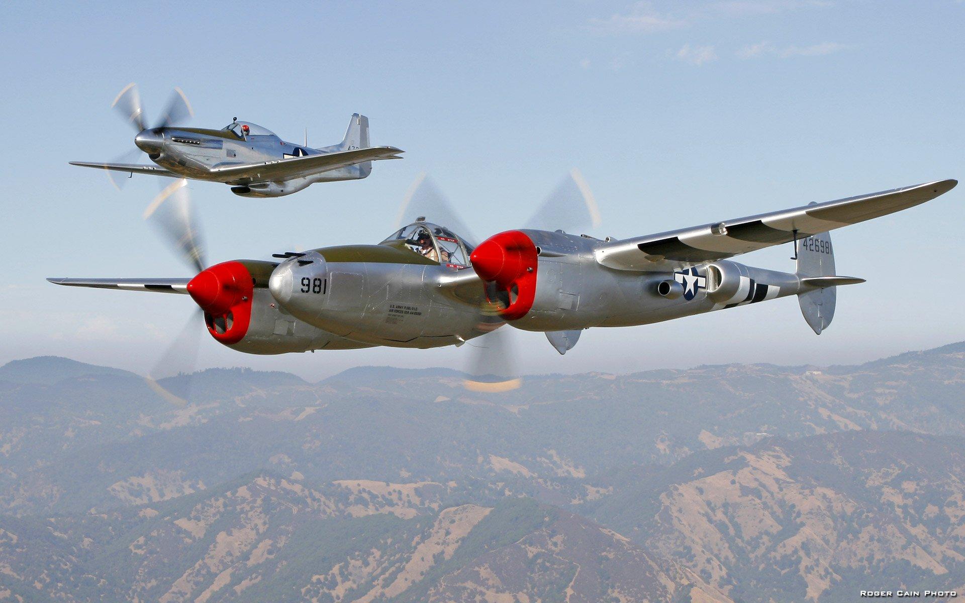 World War II P 38 Lightning P 51 Mustang wallpaper background 1920x1200