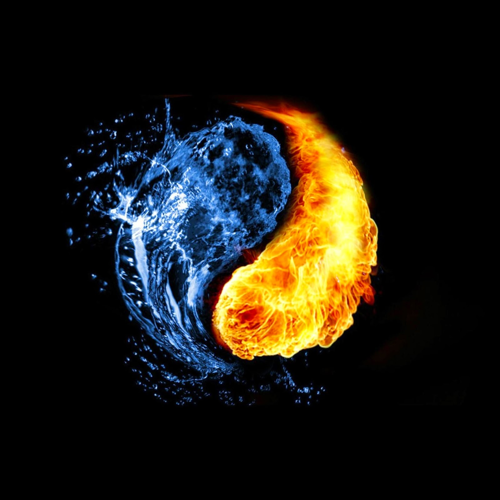 abstract yin yang wallpaper with water and fire yin yang wallpaperjpg 1600x1600