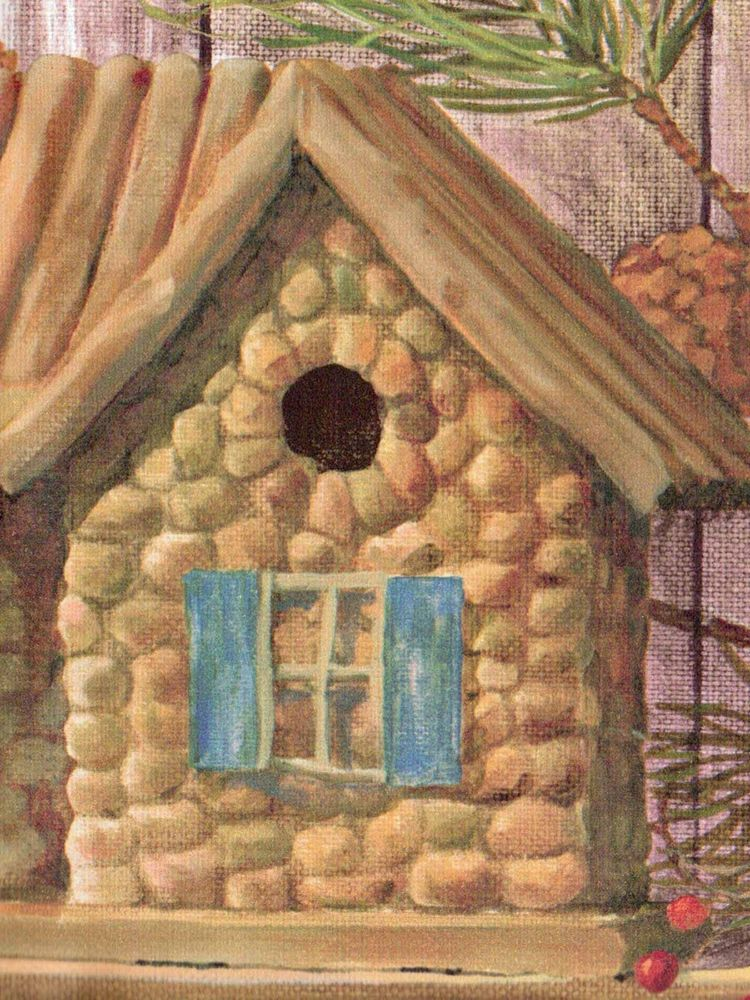 Rustic Log Cabin Birdhouses Pinecones Golden Brown Wallpaper Border 750x1000