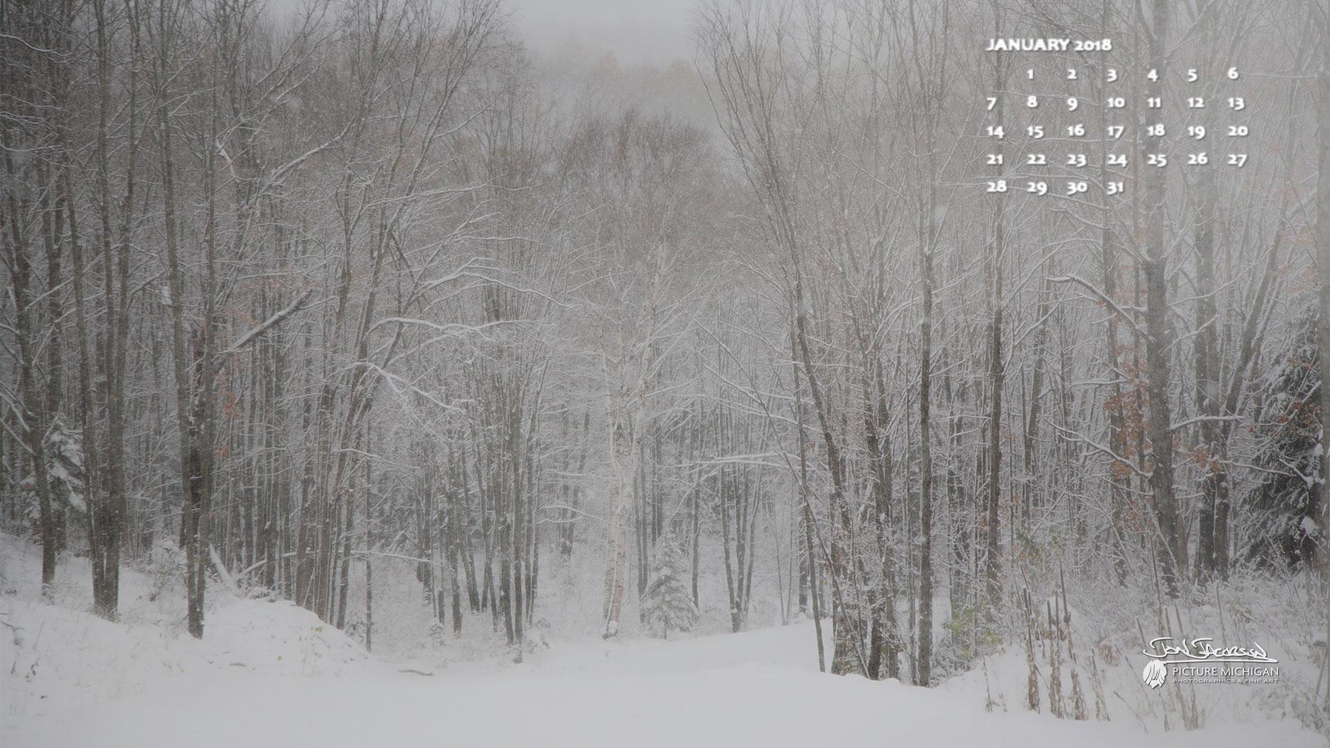 January 2018 Desktop Calendar Wallpaper Somewhere In The 1920x1080