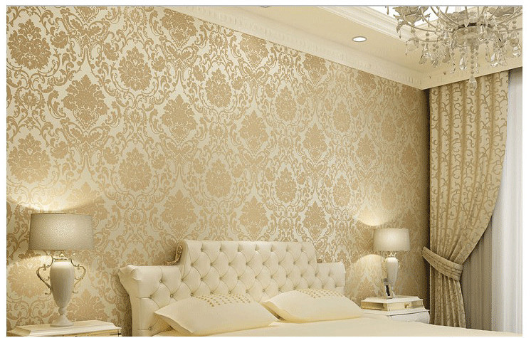 Vintage Classic Beige French Modern Damask Feature Wallpaper Wall 746x475