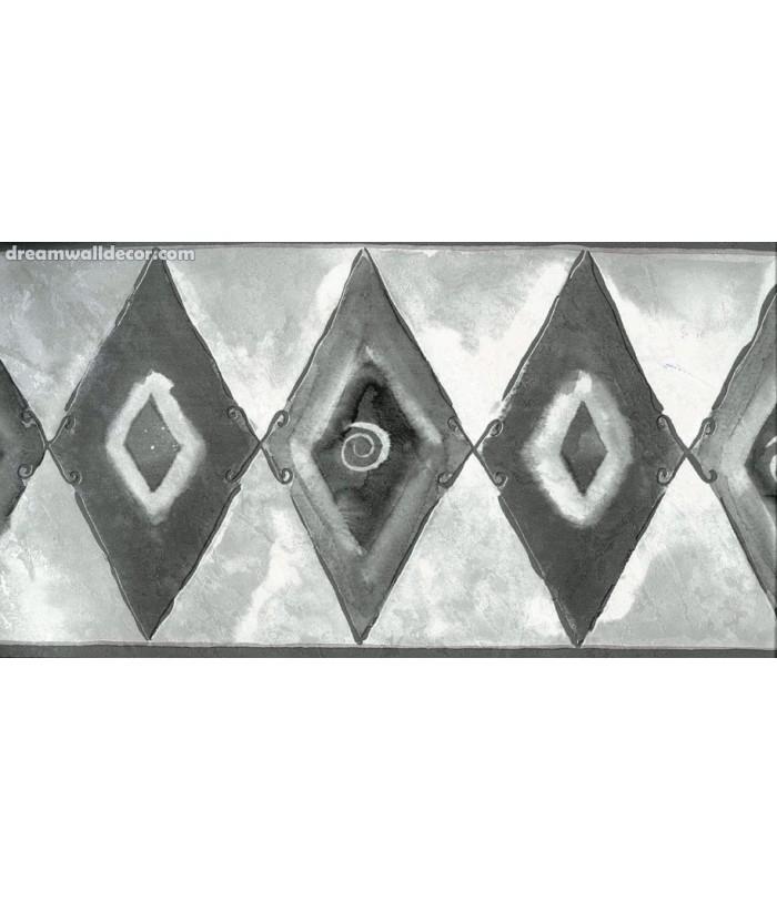 Black and White Diamond Shapes Wallpaper Border 700x812