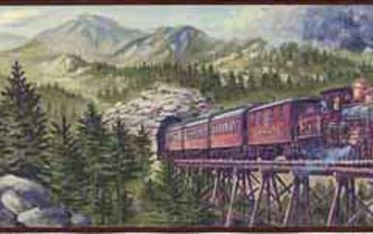 Mountain Train Wall Border   Wallpaper Border Wallpaper inccom 525x330