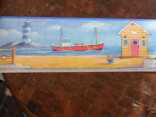 Seascape Lighthouse Beach Cottage Wallpaper Border 500x376