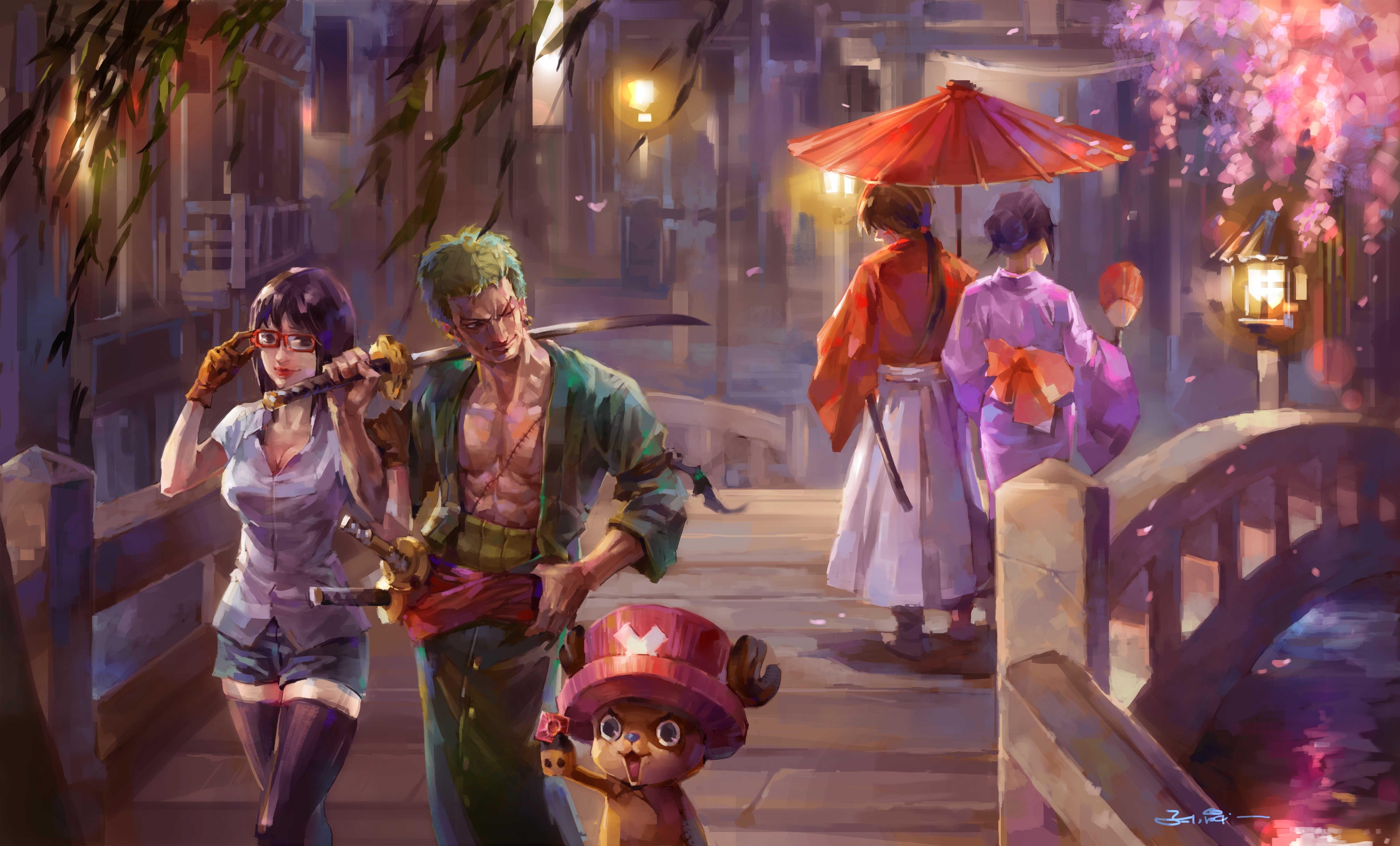 Anime Crossover Kenshin Himura One Piece Rurouni Kenshin Tashigi 6840x4134