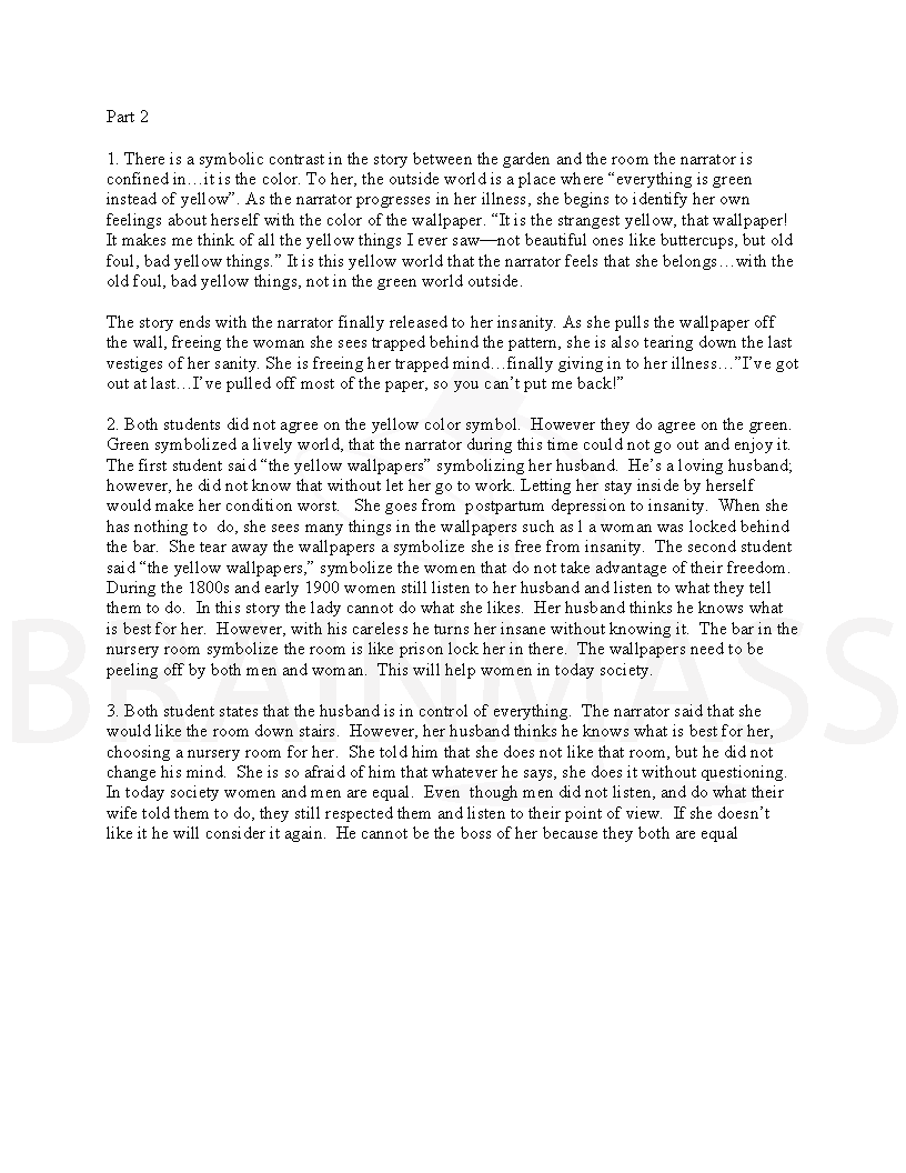 Analysis Essay On Yellow Wallpaper 816x1056