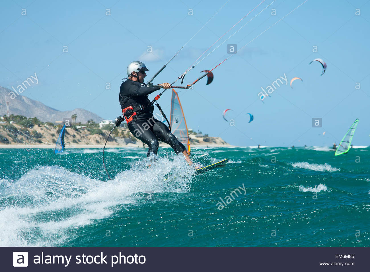 Mexico Others In Background La Ventana Mature Man Kiteboarding 1300x956