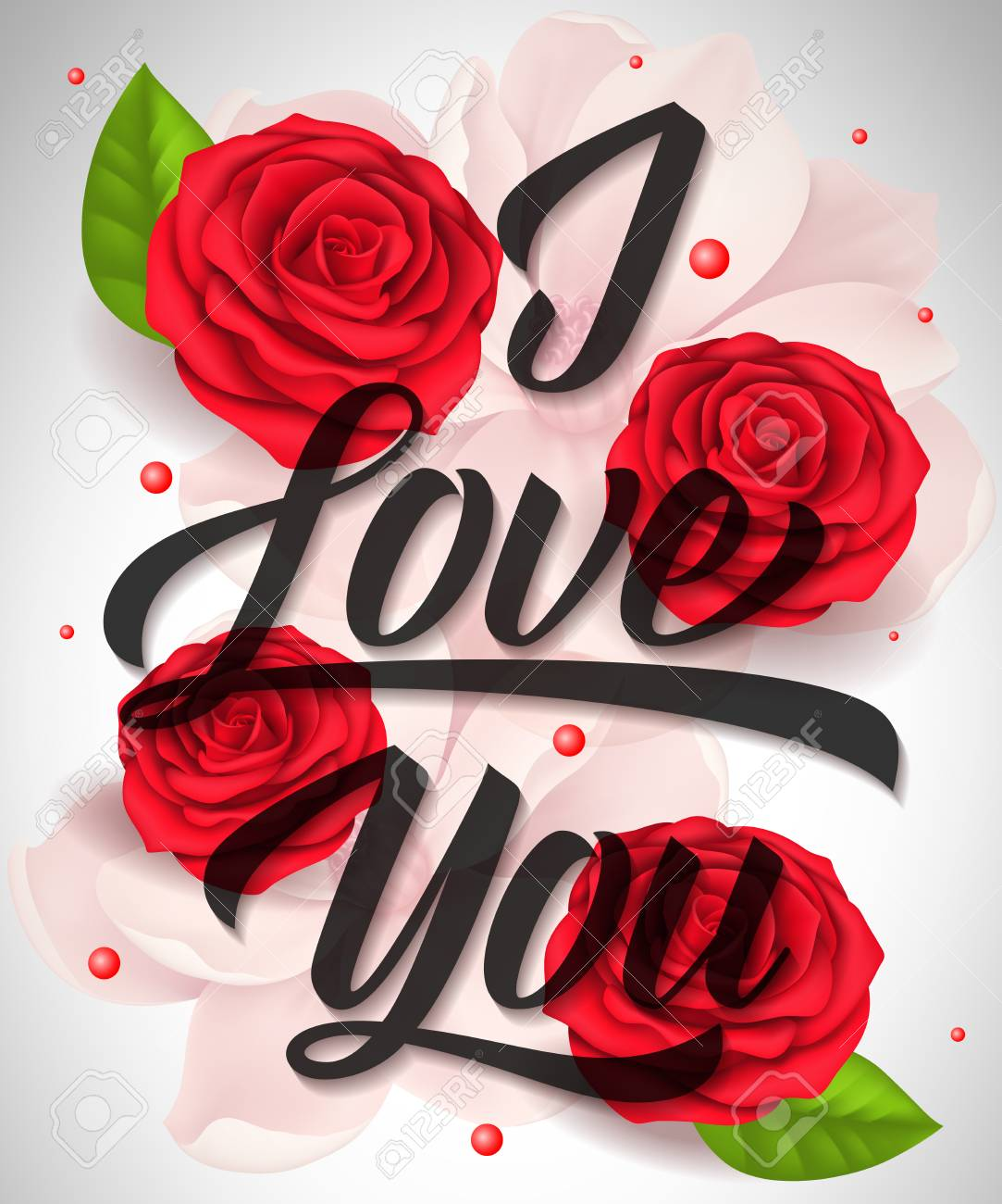 I Love You Lettering With Blossoms And Roses Calligraphic 1083x1300