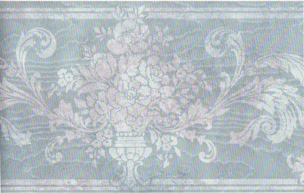 Damask Flower Urn Floral Leaf Scroll Silk Satin Blue Wall paper Border 1024x651