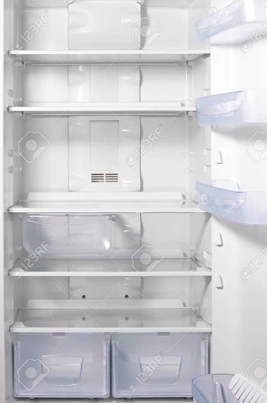 Empty Open Fridge With Shelves White Refrigerator Background 860x1300