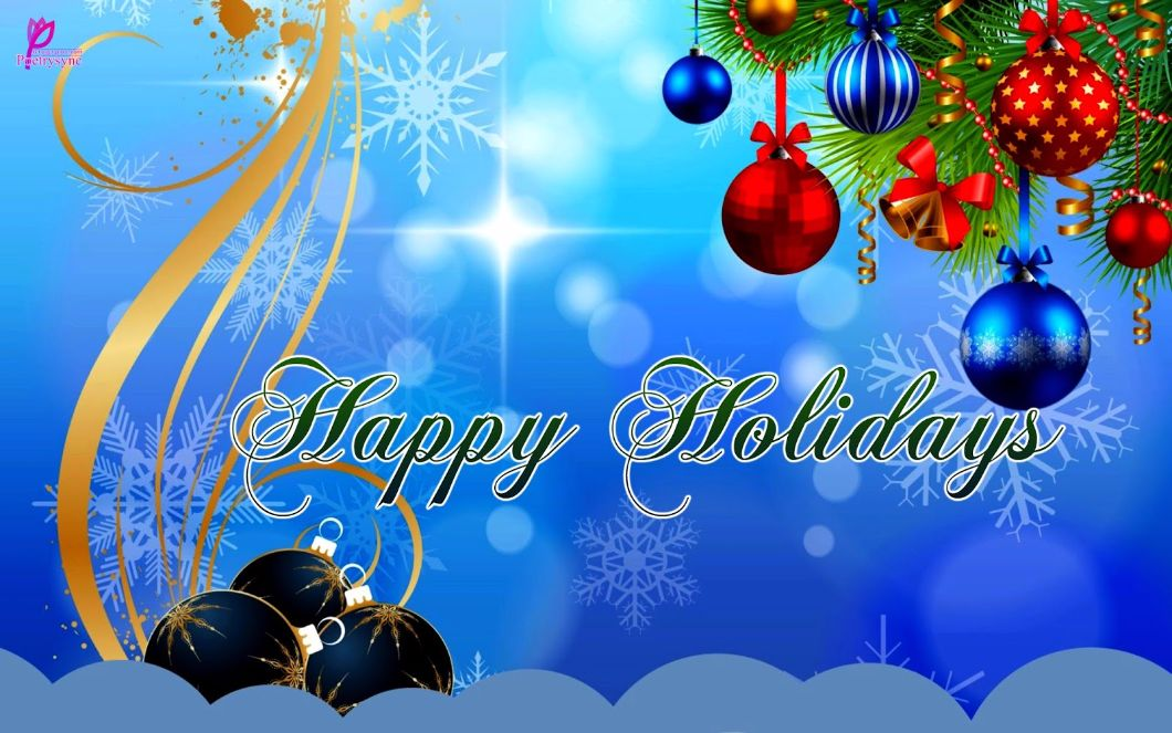 Happy Holidays Blue Greetings and Wishes Card Wallpaper New Year 1060x663
