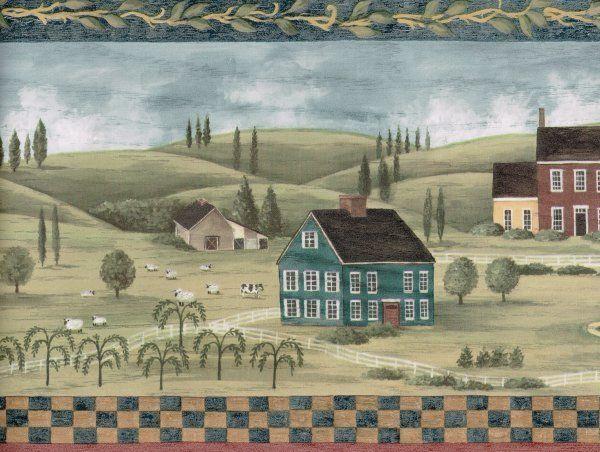 Scenic Primitive Farm Scene Wallpaper Border eBay 600x452
