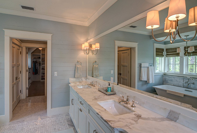 shiplap walls Blue bathroom with white vanity painted in BM White 660x446