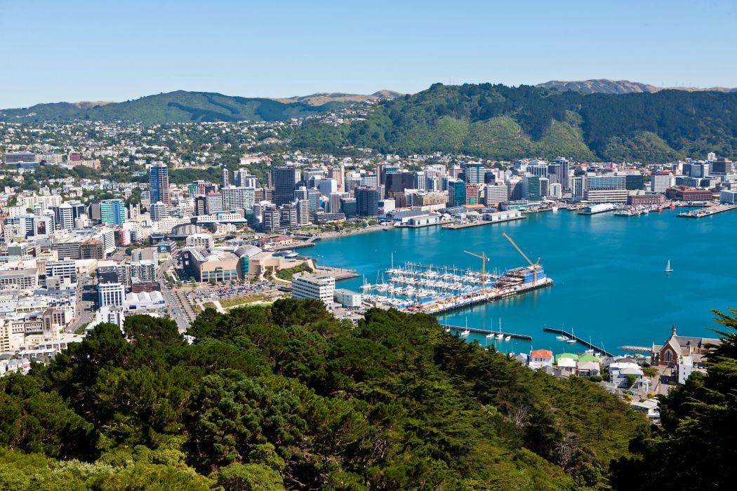 New Zealand Coast Marinas Wellington From above Cities wallpaper 1050x700
