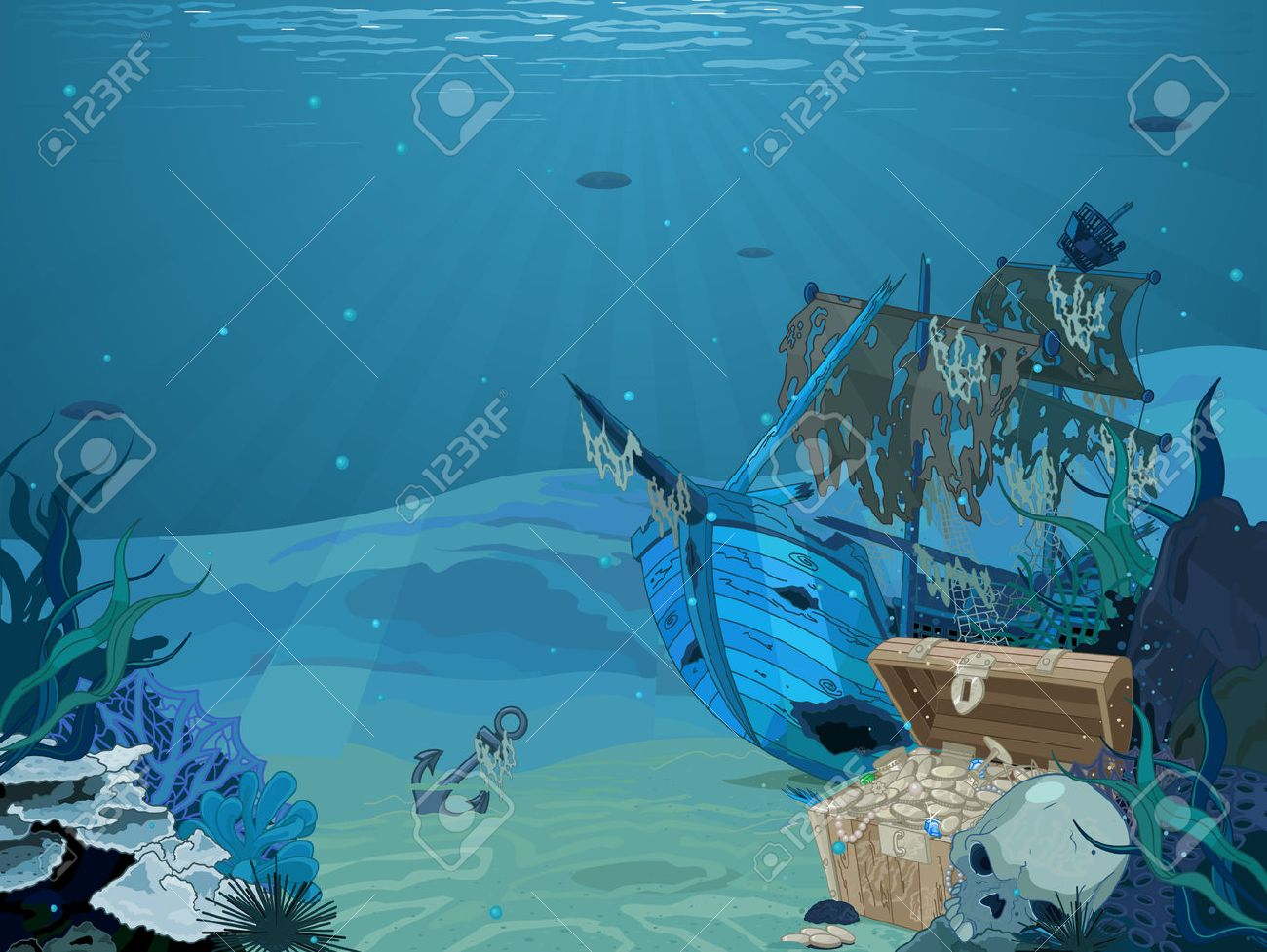 Illustration Of Sunken Sailboat On Seabed Background Royalty 1300x977