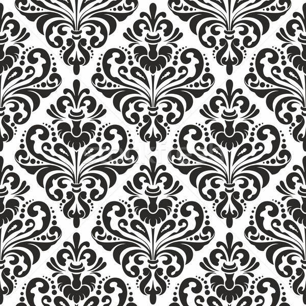 de stock Black and white seamless damask wallpaper pattern 600x600