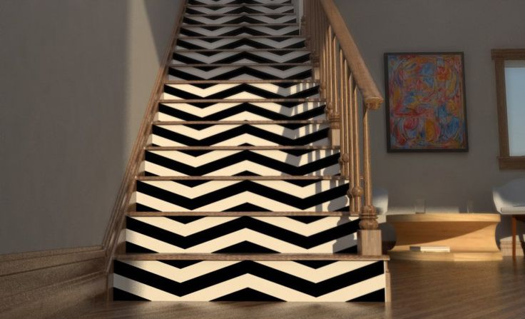 Chevron Your Stairs   Removable wallpaper   Vinyl wall sticker decal 736x447