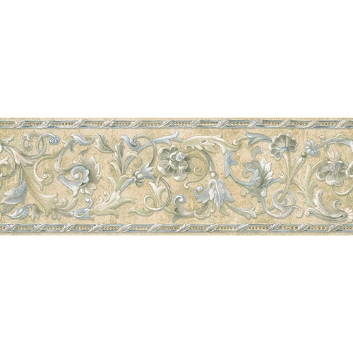 Blue Mountain Floral Scroll Wallpaper Border Stone Like Border with 500x500