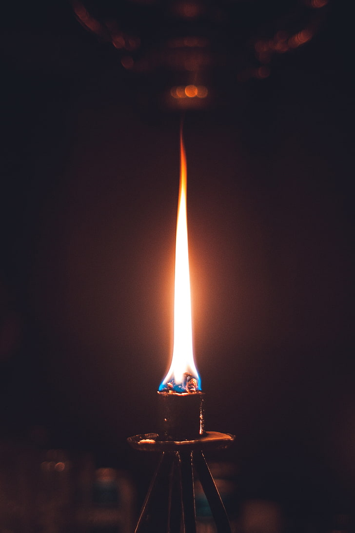 HD wallpaper black metal torch fire flame wick candle fire 728x1092