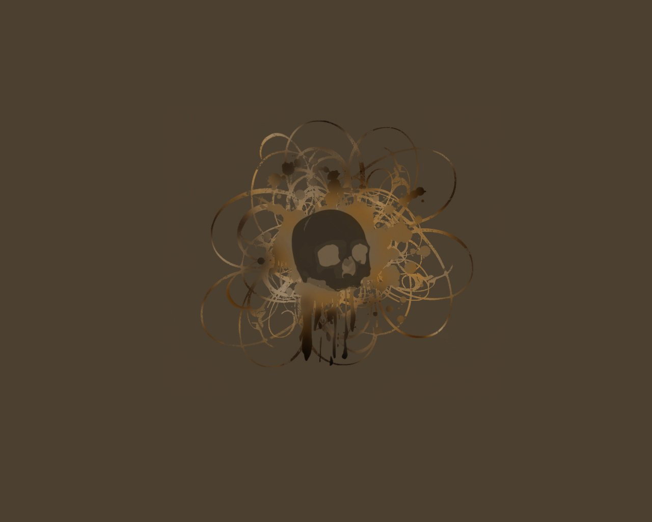 Desktop wallpaper cool wallpaper Brown Skull 1280x1024