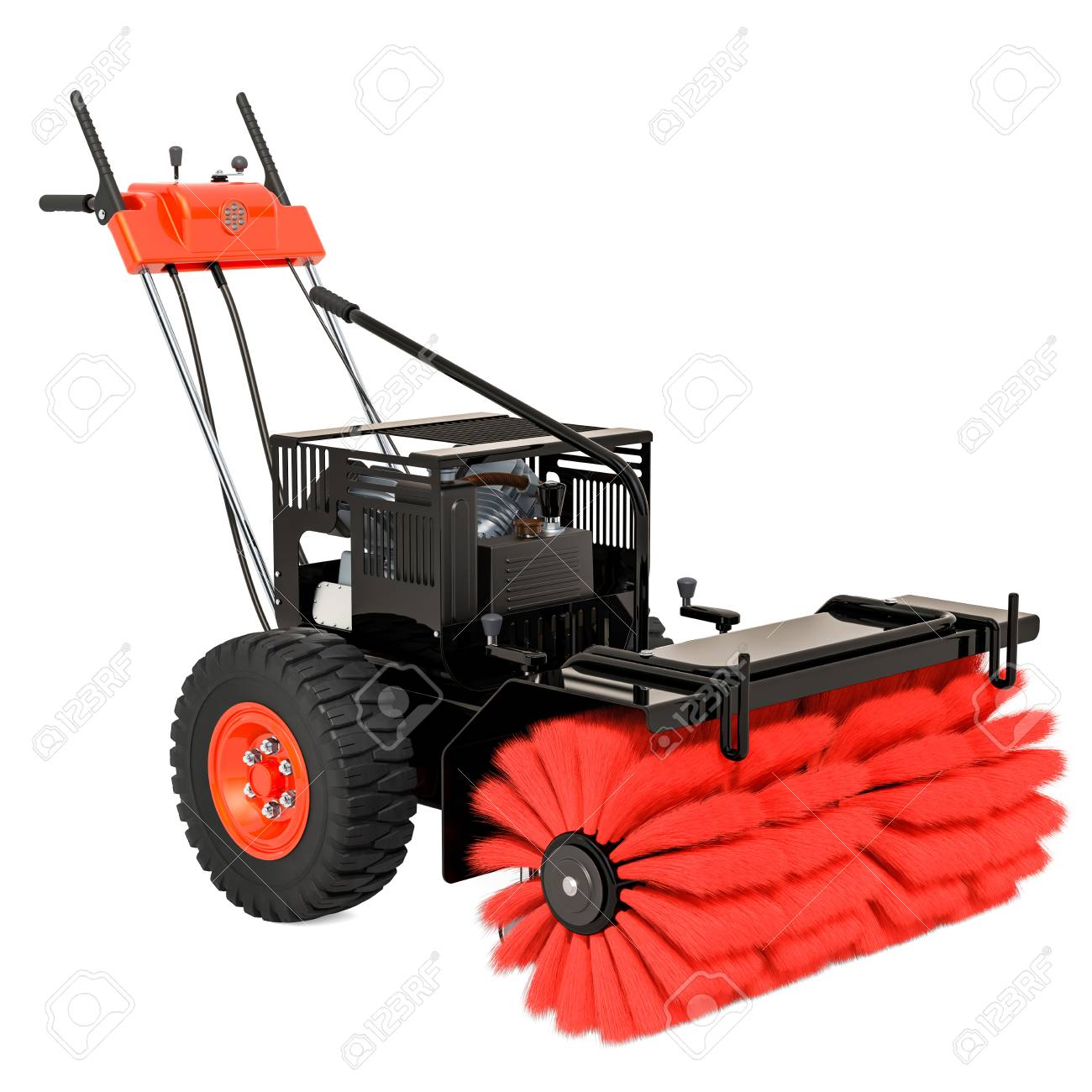 Snow Sweeper Power Brush Broom Industrial 3D Rendering Isolated 1300x1300