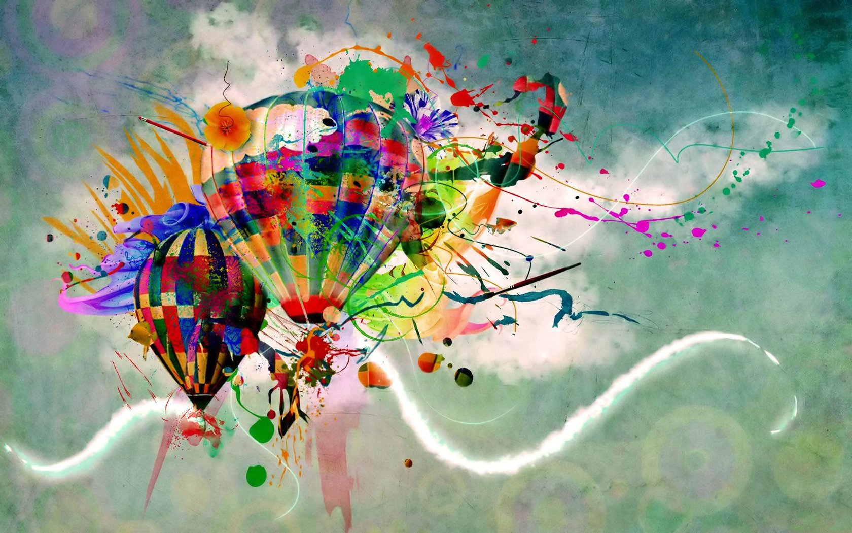 Download Color splashed hot air balloons wallpaper 1680x1050