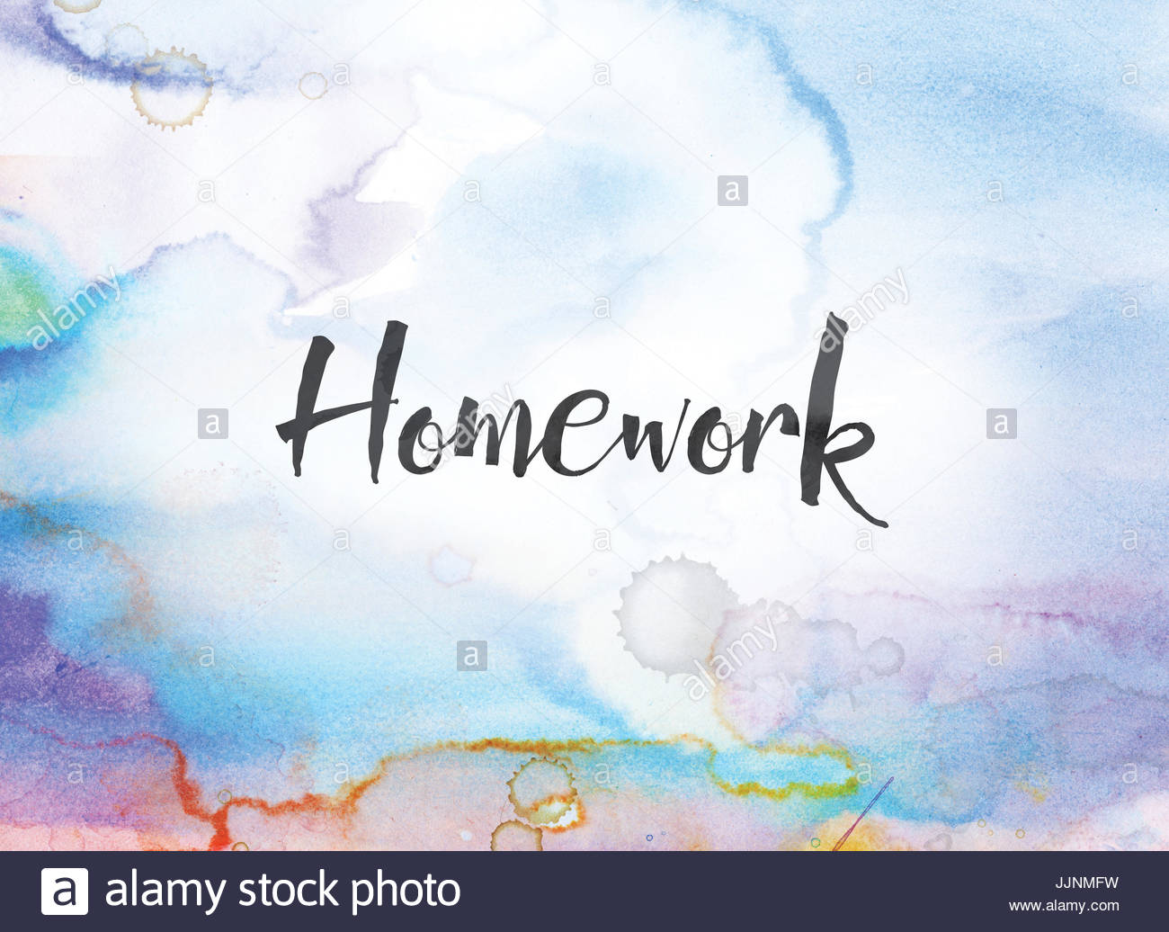 The word Homework concept and theme written in black ink on a 1300x1036