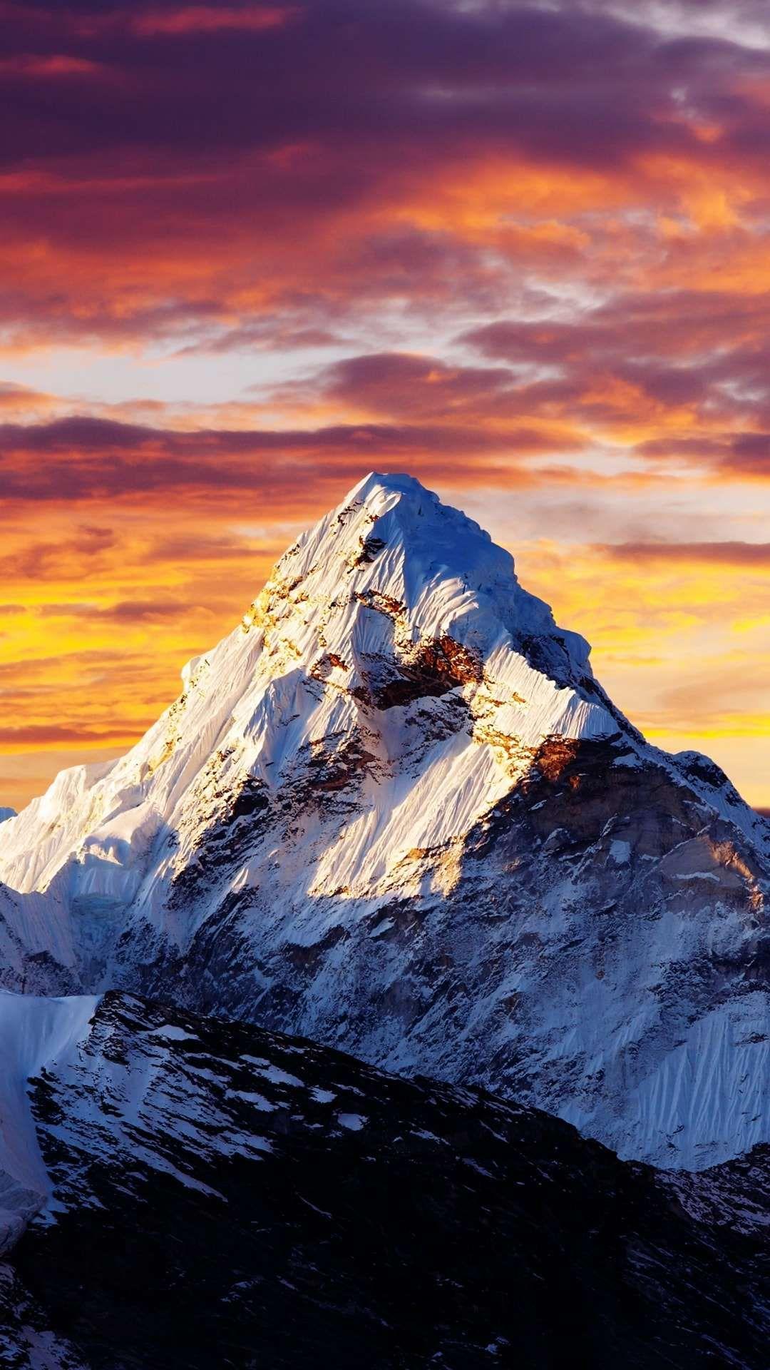 Alps Snow Mountain Sunset Clouds iPhone Wallpaper Landscape 1080x1920