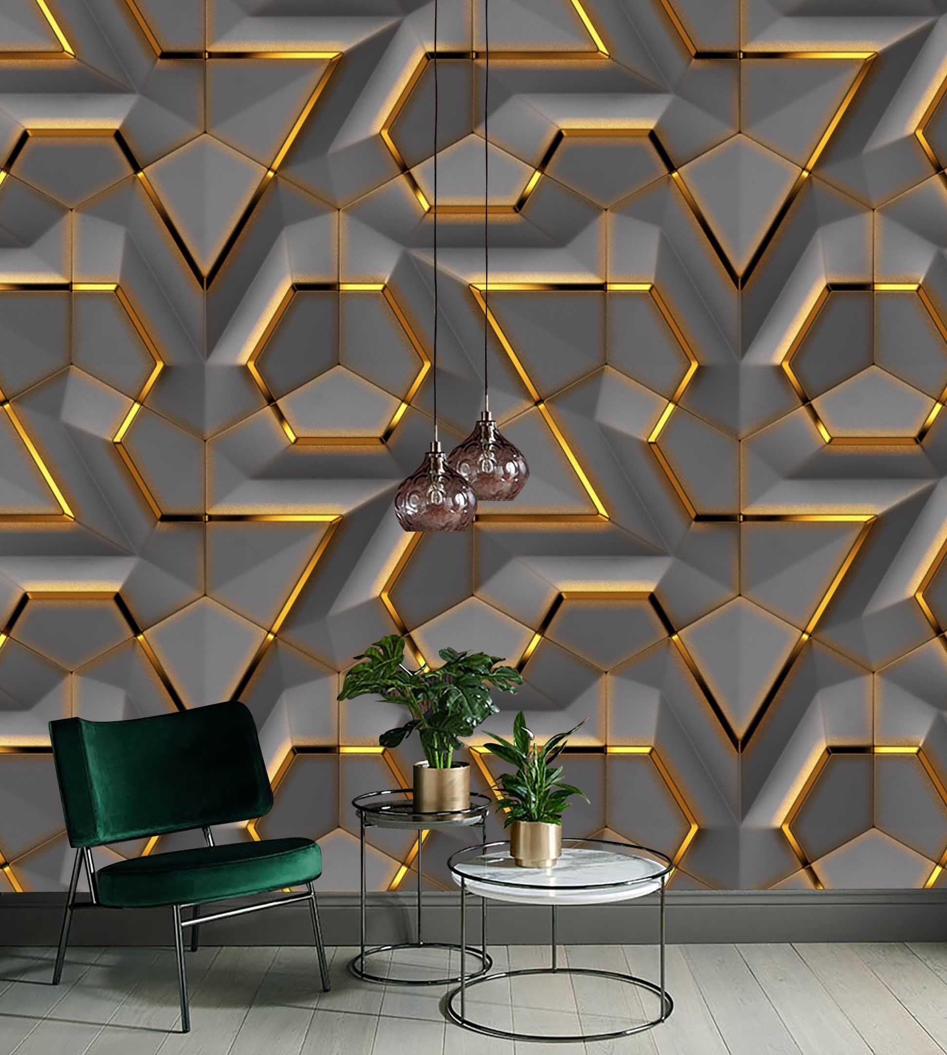 Gray Panel Gold Look Decor Geometric Background Wallpaper Self 1944x2165