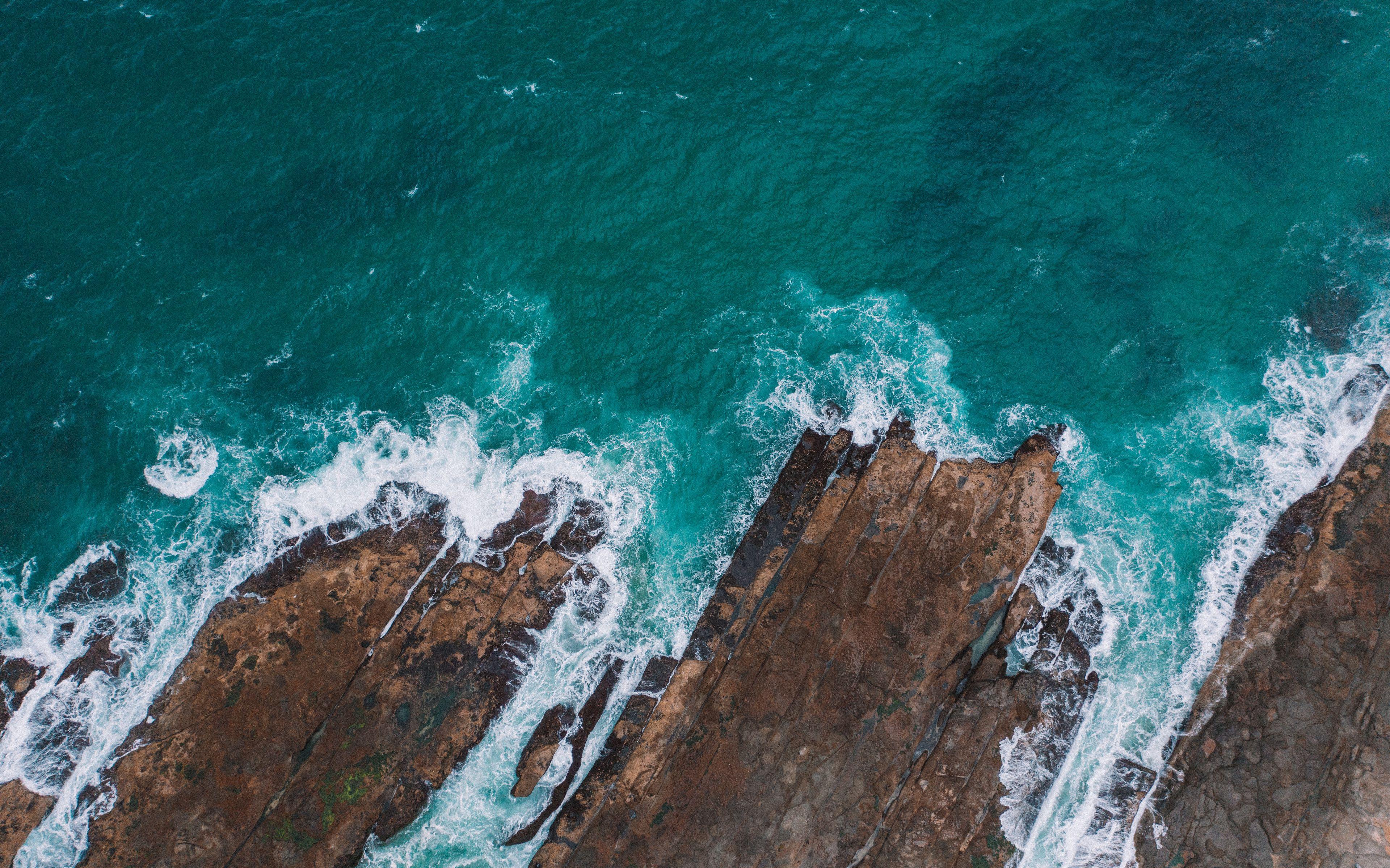 Download wallpaper 3840x2400 sea rocks aerial view coast water 3840x2400