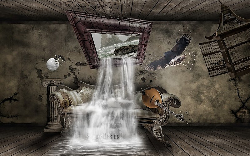 Couch birds room fantasy art escape interior digital art 800x500