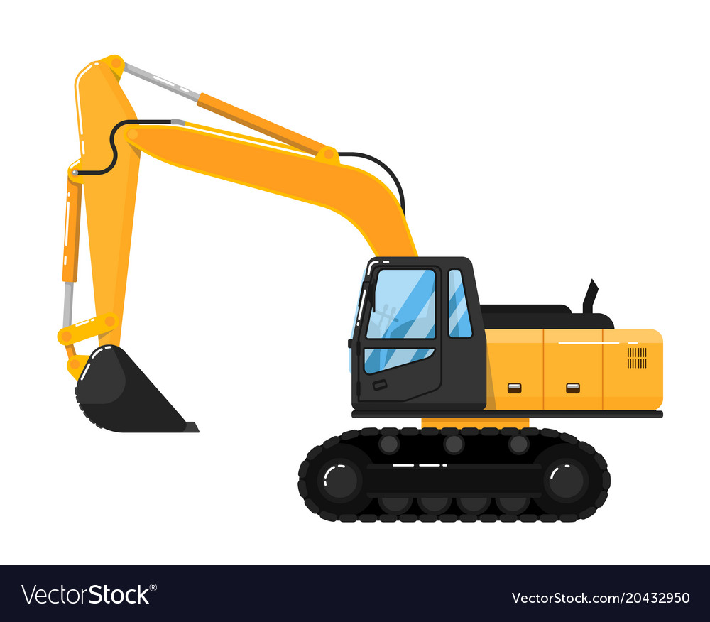 Free Yellow Excavator Isolated On White Background
